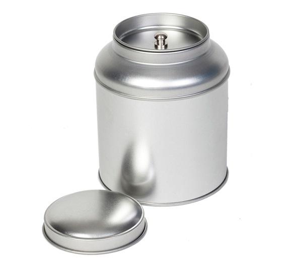 Theeblik zilver met aroma deksel