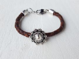 Armband Zeeuwse knop bruin vintage leer