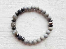 Armband grijs Buddha
