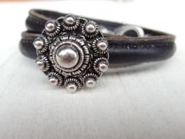 Leren armband zwart met Zeeuwse knop