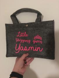 Kinder tasje Little shopping queen + naam