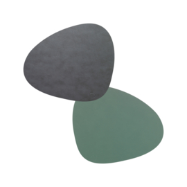 Lind DNA Table mat  Double Curve - Anthracite/Pastel Green
