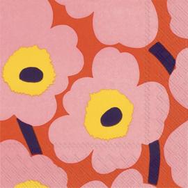 Marimekko Papieren servetten Unikko Rose Orange