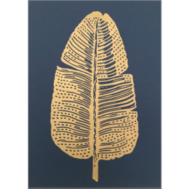 Monika Petersen Lino Print Gold Feather Gold/Indigo | A4