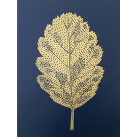 Monika Petersen Lino Print Oak Leaf Gold/Indigo | A3