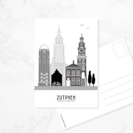 Mevrouw Emmer Skyline ansichtkaart Zutphen - zwart-wit-grijs