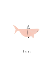 Klein Liefs wenskaart Feest haai (009)