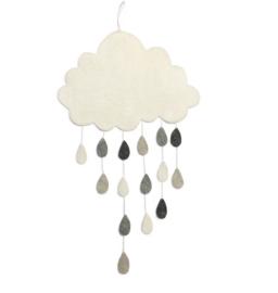 Gamcha vilten wolken hanger met gekleurde druppels | Grijs |