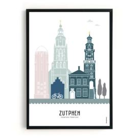 Mevrouw Emmer Skyline poster Zutphen - kleur - diverse maten