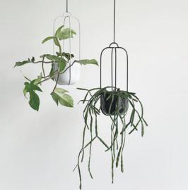Hübsch Set metalen hangende bloempotten Lichtgrijs
