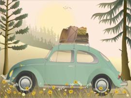 Vissevasse poster VW Beetle Green - 2 maten