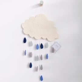 Gamcha vilten wolken hanger met gekleurde druppels | Blauw-grijs |