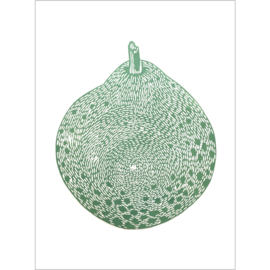 Monika Petersen Lino Print Round Green Pear Green/White | A3