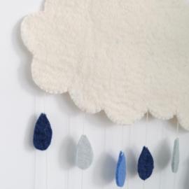 Gamcha vilten wolken hanger met gekleurde druppels   Blauw-grijs  