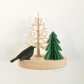 Lovi Spruce tree houten dennenboom kaart - 14 cm - Naturel