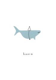 Klein Liefs wenskaart Hoera haai (010)