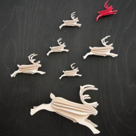 Lovi Reindeer houten rendier kaart - Naturel - 2 maten