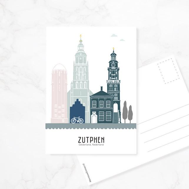 Mevrouw Emmer Skyline ansichtkaart Zutphen - kleur