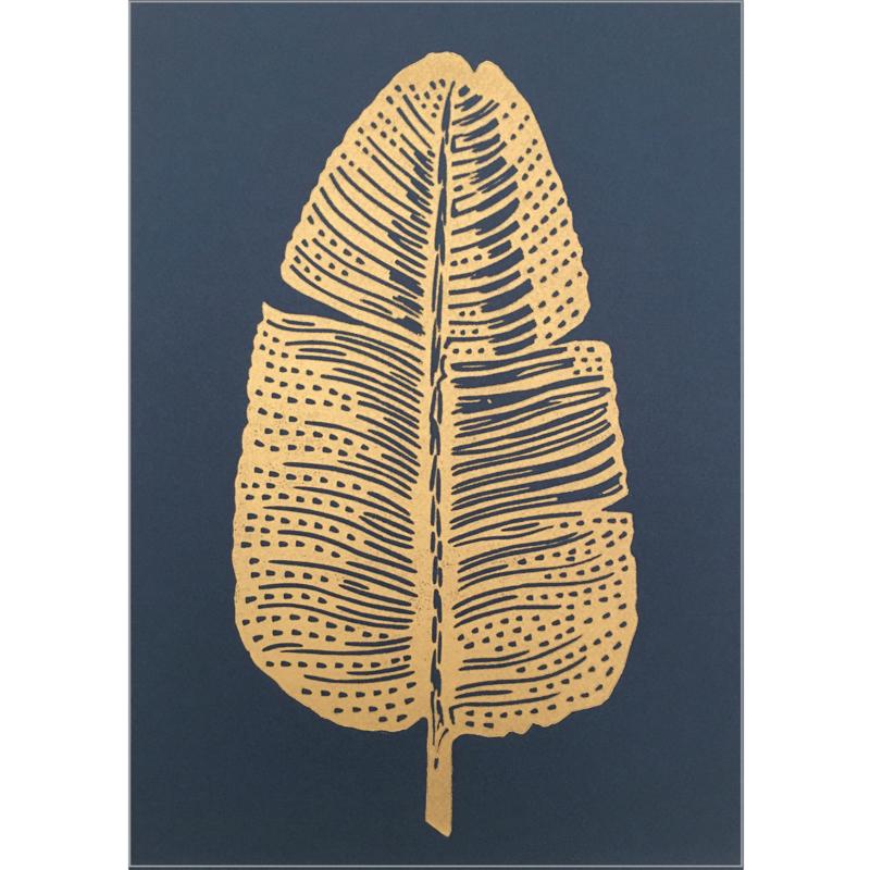 Monika Petersen Lino Print Gold Feather Gold/Indigo | A4