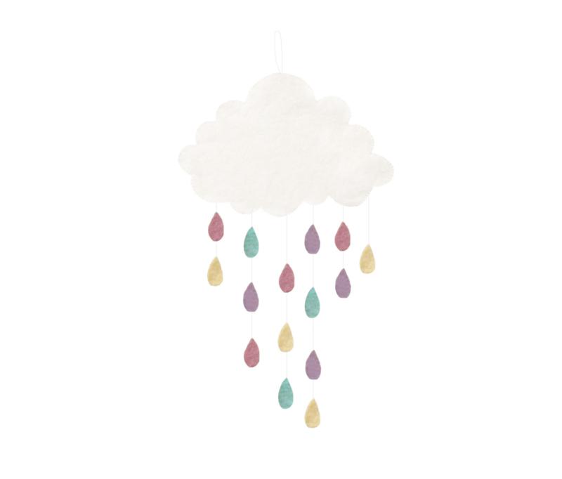 Gamcha vilten wolken hanger met gekleurde druppels | Pastel |