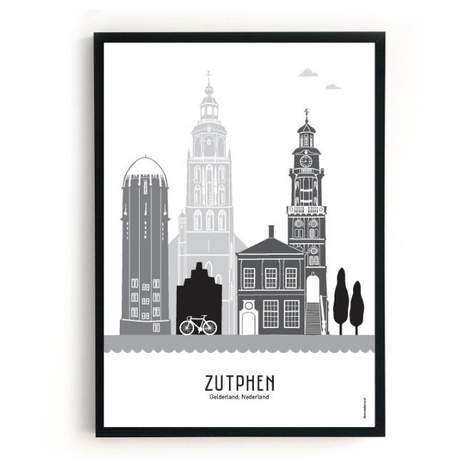 Mevrouw Emmer Skyline poster Zutphen - zwart-wit-grijs - diverse maten