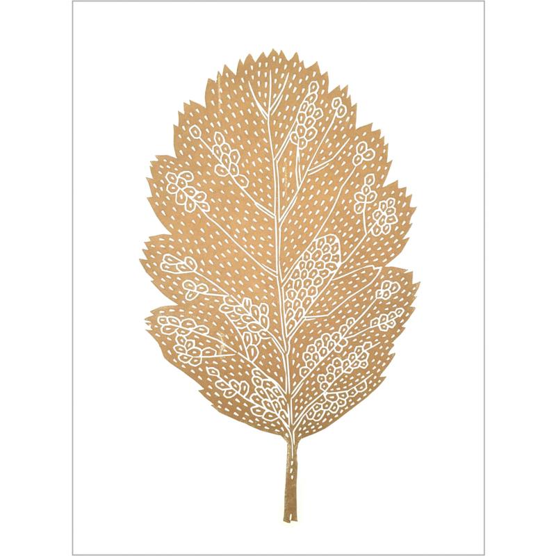 Monika Petersen Lino Print Oak Leaf Gold/White | A3