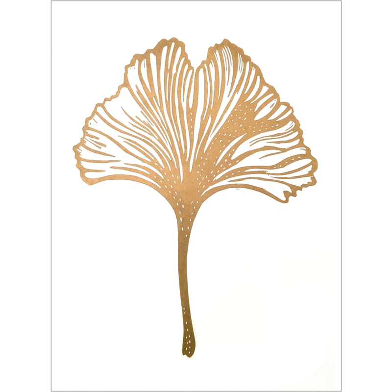 Monika Petersen Lino Print Gingko Leaf Gold/White | A3
