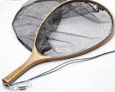 Burl Wood Rubber Coated Landing Net
