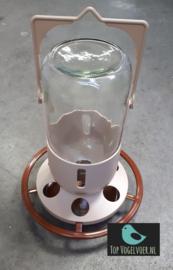 Mijnlamp standaard met glazen fles