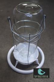 Mijnlamp met glazen fles in ijzeren frame