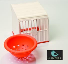 Voorhangnest plastic nestkast wit/oranje incl. oranje nest