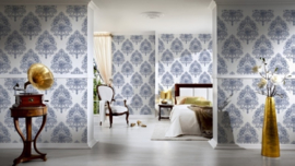 barok behang blauw creme lambrisering dubbelbreed xmx