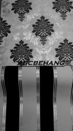 zwart wit zılver strepen behang xx252