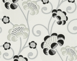 Behangpapier Bloemen Glitter Zwart Grijs  30054-2