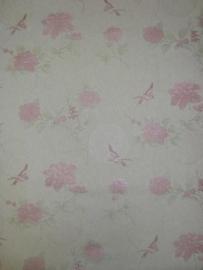 lambrisering vlies behang roze bloemen en vogels 65