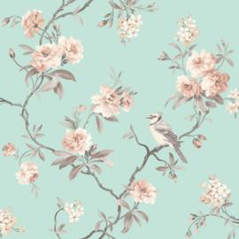 chineze vogel behang bloemen bomen 40768
