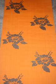 bloemen behang oranje retro