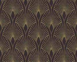 vliesbehang barok zwart goud  37427-3