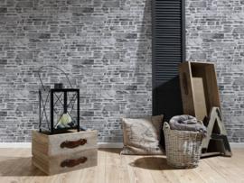 Steen behang zwart grijs 36459-1