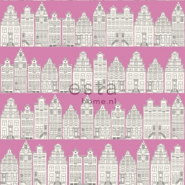 Denim & Co. Amsterdam houses pink behang 137714