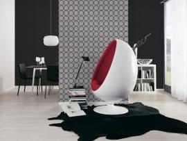 retro behang 94019-1 grijs zwart