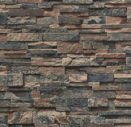 steen behangpapier blauw bruin 3d xx94