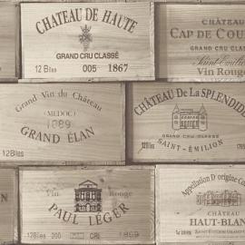 Exposed behang PE11020 Wijnkisten