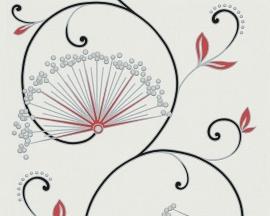 Behangpapier Bloemen Glitter Zwart Rood  96117-3