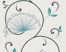 Behangpapier Bloemen Glitter Blauw  96117-1