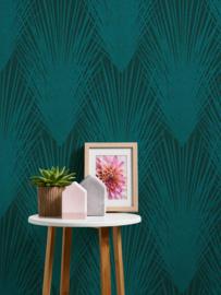 tropical floral behangpapier turquoise 37553-3