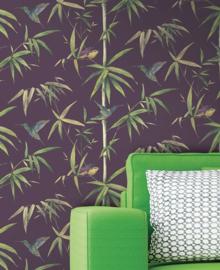 Vogel behangpapier paars bamboe Noordwand Global Fusion G56410