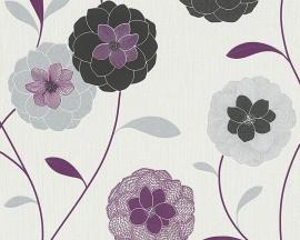 Behangpapier Bloemen Glitter Paars