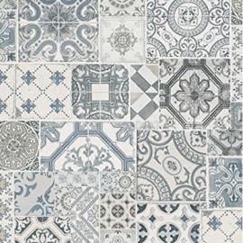 tegel behangpapier blauw grijs vlies xx98