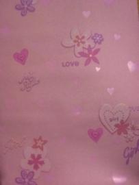 meisjes behang roze hartjes en love text met glitter 544008